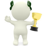 3D man winning a trophy Royalty Free Stock Images