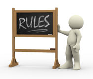 3d Man With Rules Written Blackboard Royalty Free Stock Photos