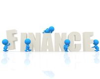 3D man with word Finance Stock Photography