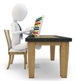 3D man working with an abacus Stock Images
