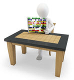 3D man working with an abacus Royalty Free Stock Photo