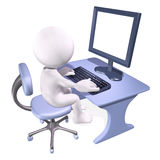 3d man working on computer. Character sitting at a desk Royalty Free Stock Images
