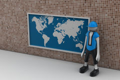 3d man with the world map Royalty Free Stock Photo