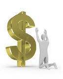3D man worships big dollar sign Stock Images