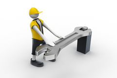 3d man with a wrench and a screw Royalty Free Stock Photography