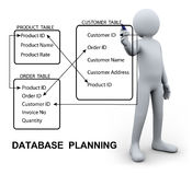 3d man writing database plan Stock Photo