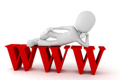 3d man with the www symbol. 3d man on top of the www symbol Stock Images
