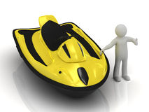 3d man and yellow jet ski Royalty Free Stock Photo