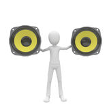 3d man with yellow speakers Stock Photos
