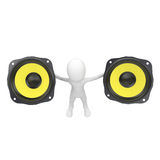 3d man with yellow speakers Stock Images