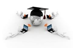 3d Mann, globales E-Learning Stockfotografie