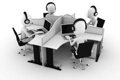 3d Mann, Kundenkontaktcenter, getrennt auf Weiß Stockfotografie