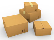 3d many carton Stock Images