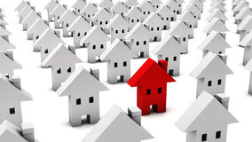 3d Many white houses one is red vector illustration