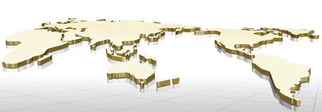 3d map. Gold of the world on white color background Stock Images
