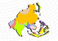3D map of Asia Royalty Free Stock Photos