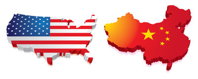 3D Map of China and US with Flag. Maps of China and US in a 3D with flag stock illustration