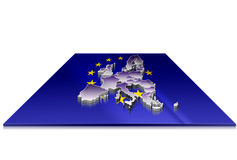 3D map of  European Union on a 3d flag Royalty Free Stock Images