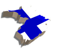 3D map of Finland. A map and flag of Finland rendered in 3D Stock Illustration