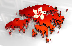 3d map flag of Hong Kong Royalty Free Stock Images