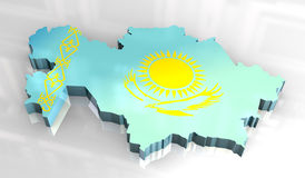 3d map flag of khazakstan Stock Images