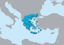 3d map of Greece Royalty Free Stock Photo