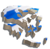 3D map of Greece. A map and flag of Greece rendered in 3D Stock Illustration
