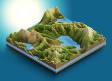 Free 3d Map Isometric Of A Chain Of Mountains And Ponds With Vegetation And Forest Royalty Free Stock Photography - 160340177