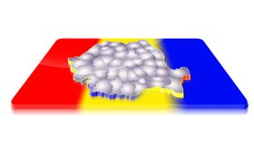 3D map of Romania on a 3d flag Stock Photography