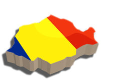 3D map of Romania. A map and flag of Romania rendered in 3D Royalty Free Illustration