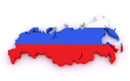 3d map of Russia. N federation with national flag on a white background (3d render) royalty free illustration