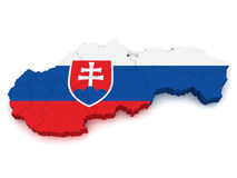 3D Map of Slovakia Royalty Free Stock Images