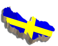 3D map of Sweden. A map and flag of Sweden rendered in 3D Stock Illustration