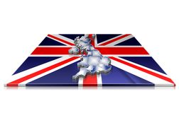3D map of  UK on a 3d flag Stock Photography