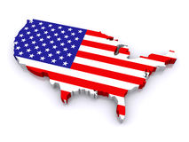 3d map of United States. Map of United States of America with a flag, on a white background (3d render&#x29 Stock Photo