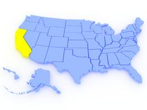 3D map of United States - State California. A 3D rendered map of USA - State California Royalty Free Stock Photo