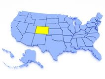 3D map of United States - State Colorado. A 3D rendered map of USA - State Colorado Stock Photo