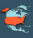 3D Map of the USA. A stylish 3D Map of the USA Stock Photo