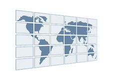 3d map of the world on transparent screens Stock Photo