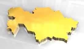 3d mapa złota khazakstan Zdjęcia Stock