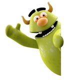 3D marginal monster - humorous character. Cheerful character isolated on a white background with a sign for free text or logo Royalty Free Stock Photography