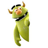 3D marginal monster - humorous character. Cheerful character isolated on a white background with a sign for free text or logo Royalty Free Stock Images