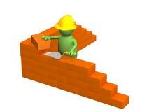3d marionet - bouwer, die een bakstenen muur bouwt Royalty-vrije Stock Afbeeldingen