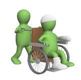 3d marionet, die de patiënt in een leunstoel vervoert Royalty-vrije Stock Afbeelding