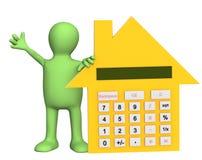 3d marionet met calculator in vorm van huis Stock Foto