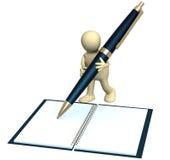 3d marionet met een pen vector illustratie