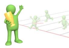 3d marionet - sportman, die in handen een kop houdt Stock Afbeeldingen