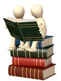 3d marionetten, die de boeken lezen Royalty-vrije Stock Afbeeldingen