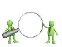 3d marionetten, die grote meer magnifier houden Stock Afbeeldingen