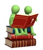 3d marionetten, die het woordenboek lezen stock illustratie